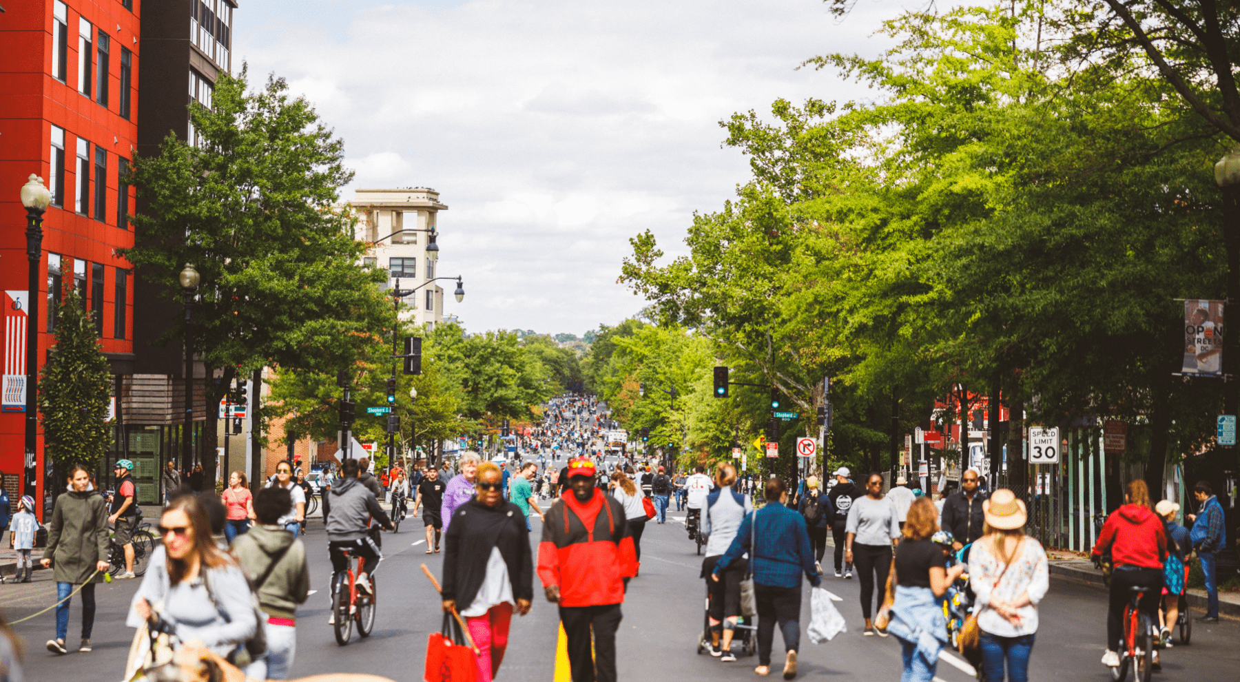 People walking along the open streets of DC